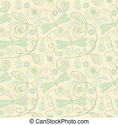 vector seamless floral background with dragonflies
