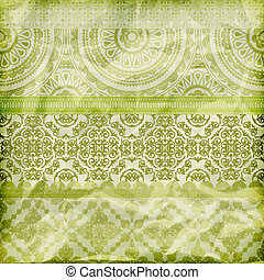 vector seamless floral borders on  crumpled green foil  paper texture