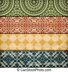 vector seamless floral borders on  crumpled   paper, grunge texture, eps 10, gradient mesh