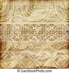 vector seamless floral borders on crumpled golden foil paper...