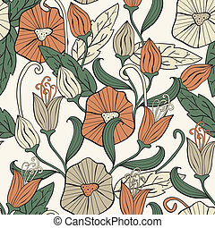 Vector Seamless Floral Funky Pattern