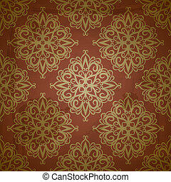 vector seamless floral golden pattern on red grungy background with crumpled paper texture, EPS 10