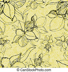 grunge pattern with flowers - Vector seamless floral grunge...
