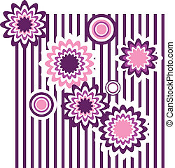 vector seamless floral ornament with circles