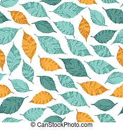 Vector seamless floral pattern. Background with autumn leaves.