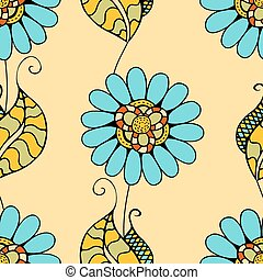 Vector Seamless Floral Pattern. Hand Drawn Floral Texture,...