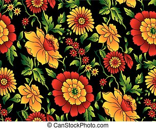 Vector seamless floral pattern on black background