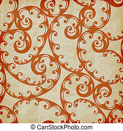 Vector Seamless Floral Pattern on Crumpled Paper Texture