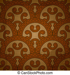 vector seamless floral  pattern on red grungy background with crumpled paper texture, EPS 10