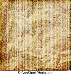 vector seamless floral pattern on wallpaper on striped background, crumpled burning paper texture