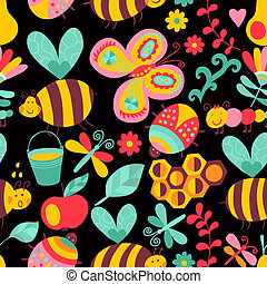 Vector seamless floral pattern. Summer composition with honeycomb, bees, flowers. Use it as pattern fills, web page background, surface textures, fabric or paper, backdrop design. Summer template.