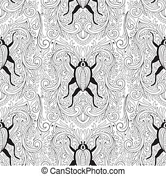Vector Seamless Floral Pattern with bugs
