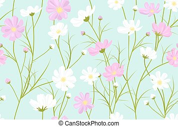 vector seamless floral pattern with cosmos flowers