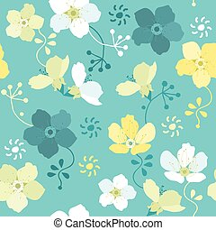 vector seamless floral pattern with colorful flowers