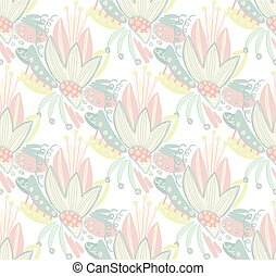 Vector seamless floral pattern with hand drawn abstract scribbles, spirales. Stains and spots of paint. Creative background. Freehand style. Design with doodle