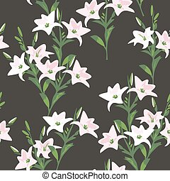 vector seamless floral pattern with lily flowers
