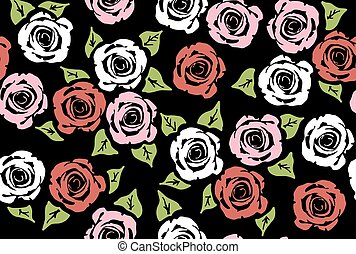 vector seamless floral pattern with rose flowers