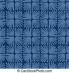 Vector seamless floral square tile blue pattern