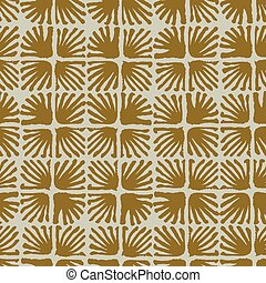 Vector seamless floral square tile brown pattern