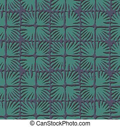 Vector seamless floral square tile green pattern