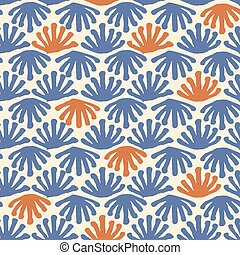 Vector seamless floral tile blue and red pattern