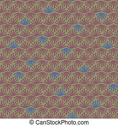 Vector seamless floral tile dark red and blue pattern