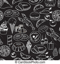 Vector Seamless Food on Chalkboard Background for...
