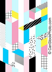 Vector seamless geometric pattern. Memphis Style. Abstract...