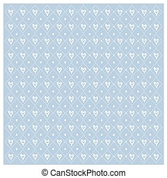 Vector Seamless geometric pattern with hearts repeating texture on blue background