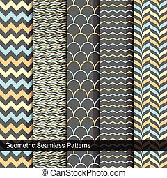 Vector seamless geometric patterns.