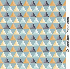 Vector Seamless Geometric Triangle Grid Pattern Shaded in Blue And Yellow Colors