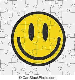 vector, seamless, glimlachen, spel, emoticon, jigsaw, illustratie, raadsel, pattern.