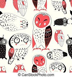 Vector seamless graphic pattern of funny owls