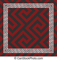 Traditional seamless vintage red, black and white square Greek ornament, Meander