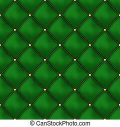 Vector seamless green buttoned leather pattern vector. Upholstery or walls.