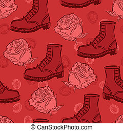 vector seamless grunge background with boots and roses -...