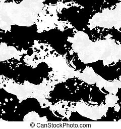 Vector seamless hand drawn spotted pattern black and white