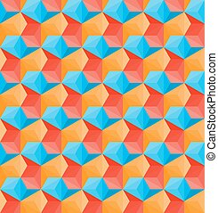 Vector Seamless Hexagonal Shape Pattern In Red Orange and Blue