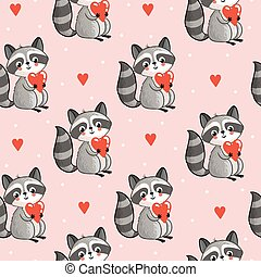 Vector seamless illustration with cute raccoon.