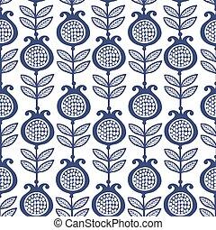 Blue garnet. Floral Pattern.