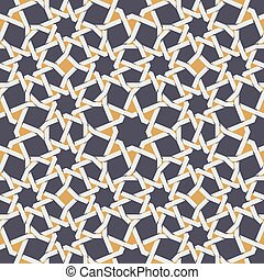 Vector Seamless Islamic Star Line in Yellow And Blue...