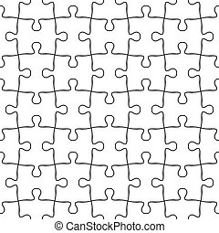 Vector seamless jigsaw puzzle pattern. Seamless background in black and white
