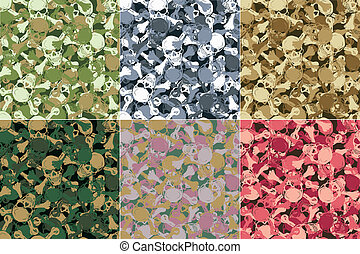 vector., seamless, kranium, camouflage, mønster