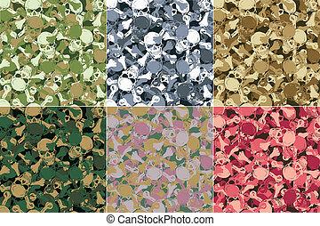 vector., seamless, kranium, kamouflage, mönster