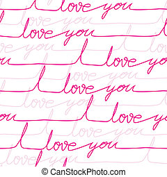 Vector seamless love pattern with letters on paper page....