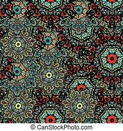 Vector seamless mandala flower pattern background