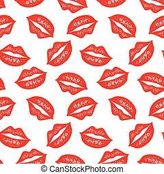 vector, seamless, model, met, kleurrijke, lips., het herhalen, sketched, lippen, achtergrond, voor, wikkelend papier, textiel, afdrukken, scrapbooking.