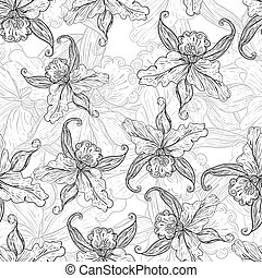seamless monochrome background with lilies