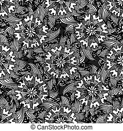 Seamless Monochrome Floral Pattern. - Vector Seamless...