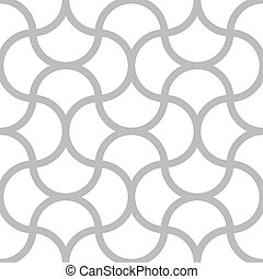 Vector seamless monochrome pattern - simple geometric lines on white square background